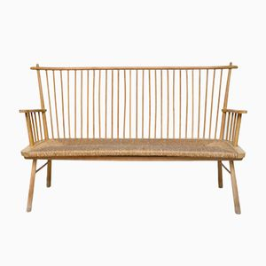 Scandinavian Wood & Straw Bench, 1960s