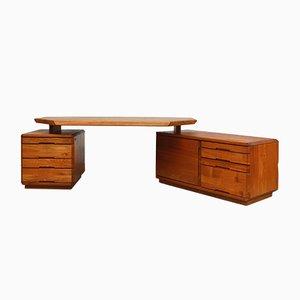 Großer Modell B40 Schreibtisch von Pierre Chapo für Seltz, 1970er