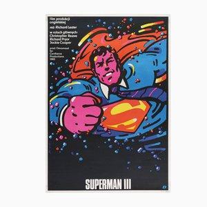 Póster polaco de la película Superman III vintage de Waldemar Swierzy, 1983