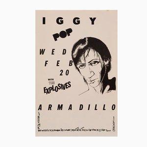 Póster de concierto de Iggy Pop vintage, años 80