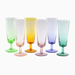 Vintage Colourful Cascade Glasses from Rupel Boom, Set of 6