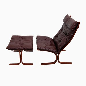 Vintage Siesta High Back Sling Lounge Chair & Ottoman by Ingmar Relling for Westnofa