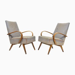 Vintage Grey Armchairs, 1960s, Set of 2