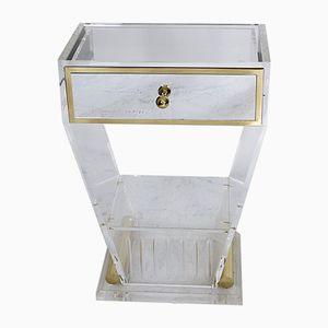 Consolle vintage in lucite e ottone con cassetto specchiato