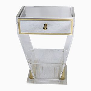 Vintage Lucite and Brass Entry Console Table with Mirrored Drawer