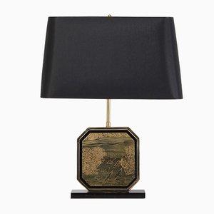 Lámpara de mesa estilo Hollywood Regency en latón y dorado de Maho, años 70