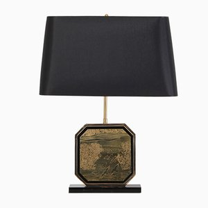 Lampe de Bureau Style Hollywood Regency en Or et Laiton de Maho, 1970s