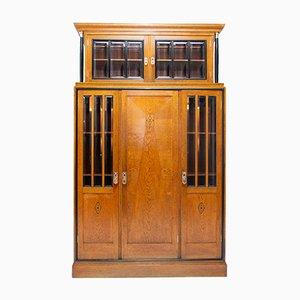 Antique Viennese Oak Secession Library Cabinet