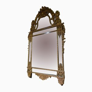 Antique Baroque Wood & Gold Leaf Mirror
