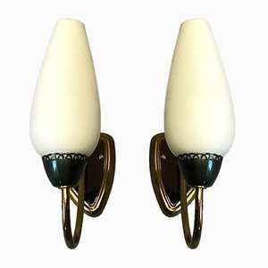 Vintage Brass & Opaline Glass Sconces from Lunel, 1950s, Set of 2