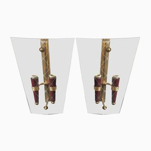 Mid-Century Brass & Engraved Glass Wall Sconces, Set of 2