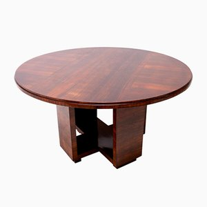 Round Art Deco Walnut Dining Table by Vlastimil Brozek, 1930s