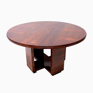 Round Art Deco Walnut Dining Table by Vlastimil Brozek, 1930s