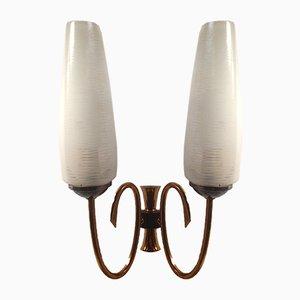Lámpara francesa Mid-Century de vidrio opalino de Lunel, años 50