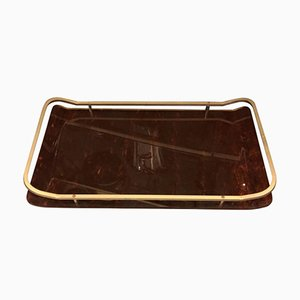 Mid-Century Italian Modern Brass and Lucite Tray, 1960s