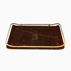 Modernes italienisches Mid-Century Tablett aus Messing und Plexiglas, 1960er