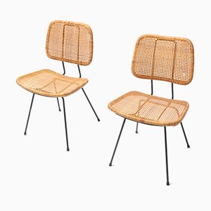 Esszimmerstühle mit Sitz aus Schilfrohr & Gestell aus schwarzem Metall von Dirk van Sliedregt, 1950er, 2er Set
