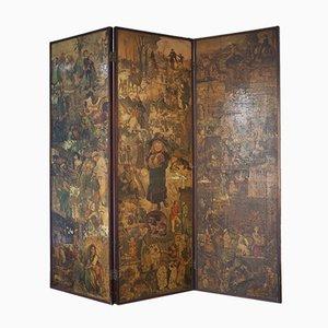 Biombo victoriano de tres paneles plegable con decoupage y bisagras de latón