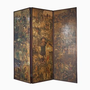 Victorian Decoupage Three-Panel Folding Screen with Brass Hinges