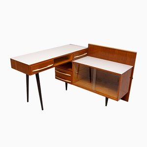 Mid-Century Corner Writing Desk with Bookcase from ÚP Závody, 1960s