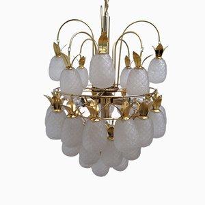 Lámpara de araña vintage con piñas de vidrio esmaltado