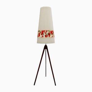 Lámpara de pie de teca con trípode y rosas, años 50