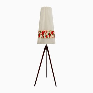 Teak Tripod Floor Lamp with Rose Motifs, 1950s