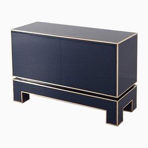 Gold-blauer Vintage Schrank mit zwei Türen von Alain Delon für Maison Jansen, 1970er