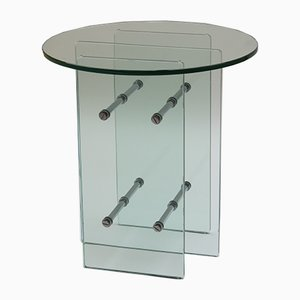 Modernist Glass and Nickel Side Table, 1970s