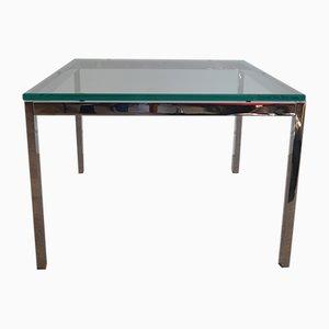 Mesa de centro de vidrio y metal cromado de Florence Knoll para Knoll International, años 70