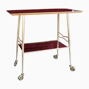 Mesa de servicio vintage de formica con ruedas
