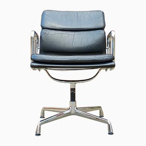 EA 208 Soft Pad Leather Swivel Chair by Charles & Ray Eames for Vitra