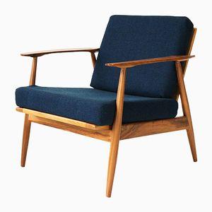 Mid-Century Walnut Wood Lounge Chair, 1960s