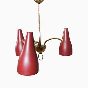 Lámpara de techo vintage de latón y metal pintado, años 50