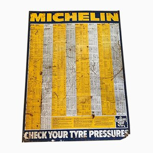 Vintage Michelin Garage Tyre Pressure Chart Sign, 1950s