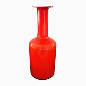 Vaso rosso di Otto Brauer per Holmegaard, anni '60