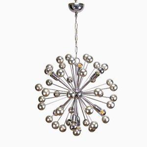 Lampada da soffitto Sputnik in metallo cromato, anni '70