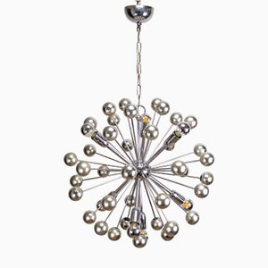 Large Chrome Sputnik Ceiling Lamp, 1970s