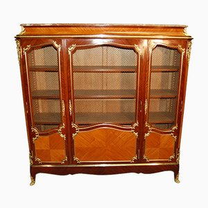 Antique Louis XV Rosewood and Gilded Bronze Bookcase