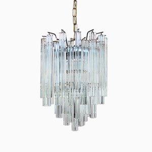 Lampadario in cristallo di Murano con pendenti quadrilobi di Venini, anni '7o