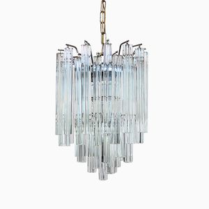 Murano Crystal Glass Chandelier with Quadrilobo Pendants from Venini, 1970s