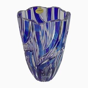 Blaue Vase aus Kristallglas von Nordbohm, 1960er