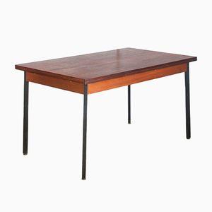 Tavolo Mid-Century in teak su gambe in ferro, anni '60
