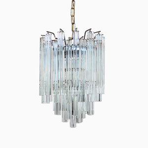 Lustre en Verre Cristal de Murano avec Suspensions Quadrilobo de Venini, 1970s