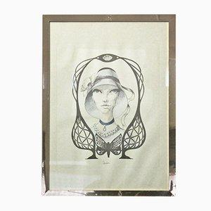 Impresión italiana vintage de Andrea Burroni, años 70