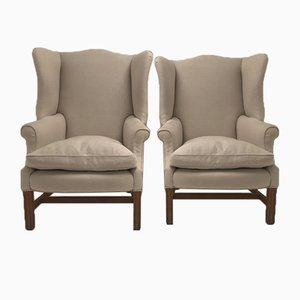 Antique English Wing Chairs, Set of 2