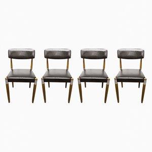 Skandinavische Vintage Stühle mit konischen Holzbeinen, 4er Set