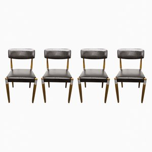 Vintage Scandinavian Chairs with Tapered Wood Legs, Set of 4
