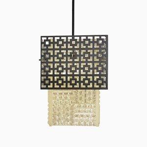Lampada vintage in alluminio con motivo geometrico, anni '60