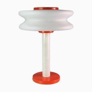 Lámpara de mesa era espacial lacado en naranja de vidrio opalino, años 70